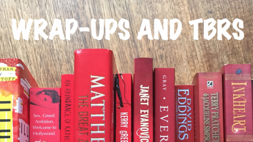 Wrap-up and TBR banner with a selection of books with red spines
