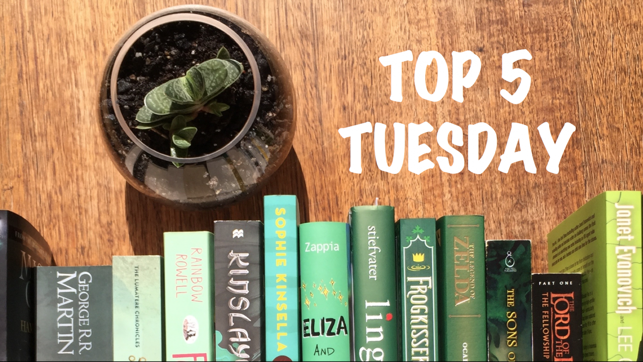 Top 5 Tuesday banner with a rainbow of green books