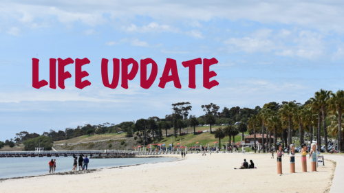 Life update banner with a photo of the beach near my house