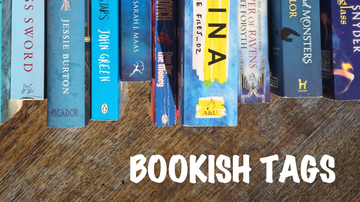 Bookish tags banner with blue book spines