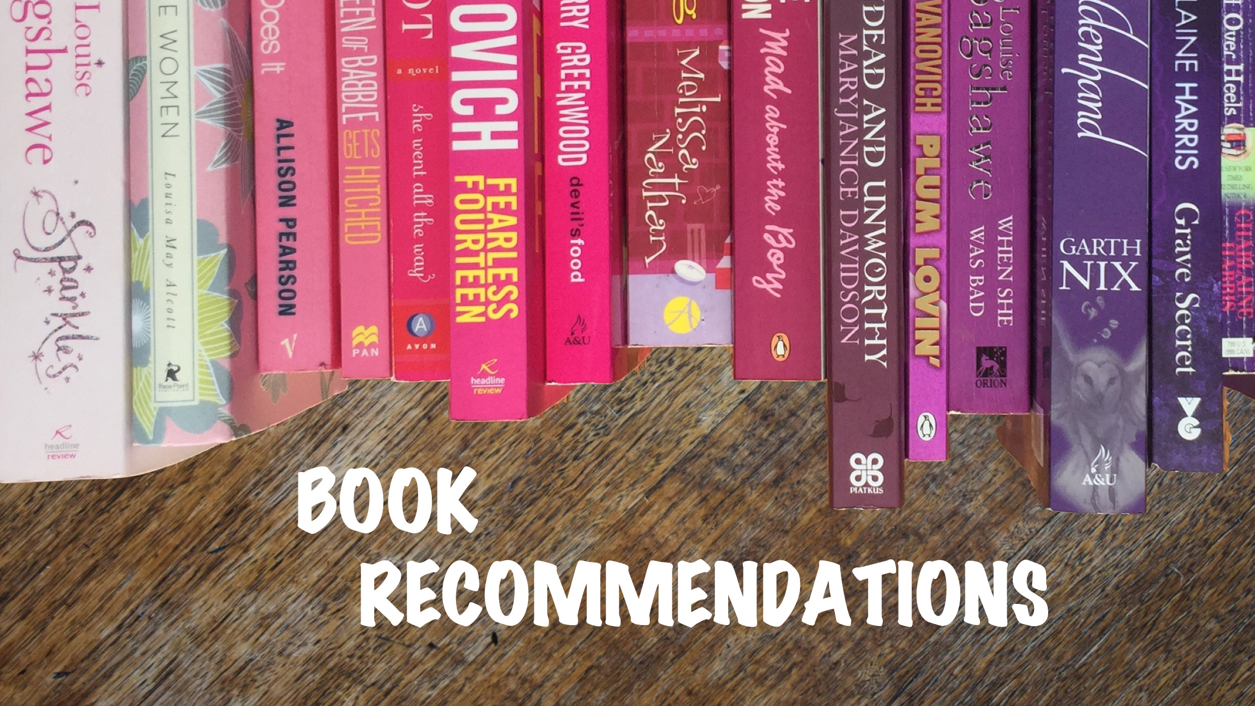 Book Recommendations Banner with pink and purple book spines