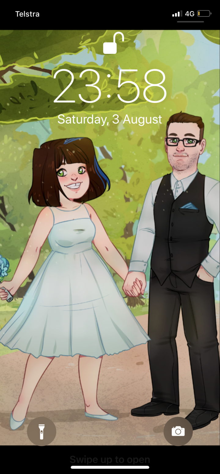 Screen shot of my phone background which is a part of a drawing of my husband and I from our Save the Date cards.
