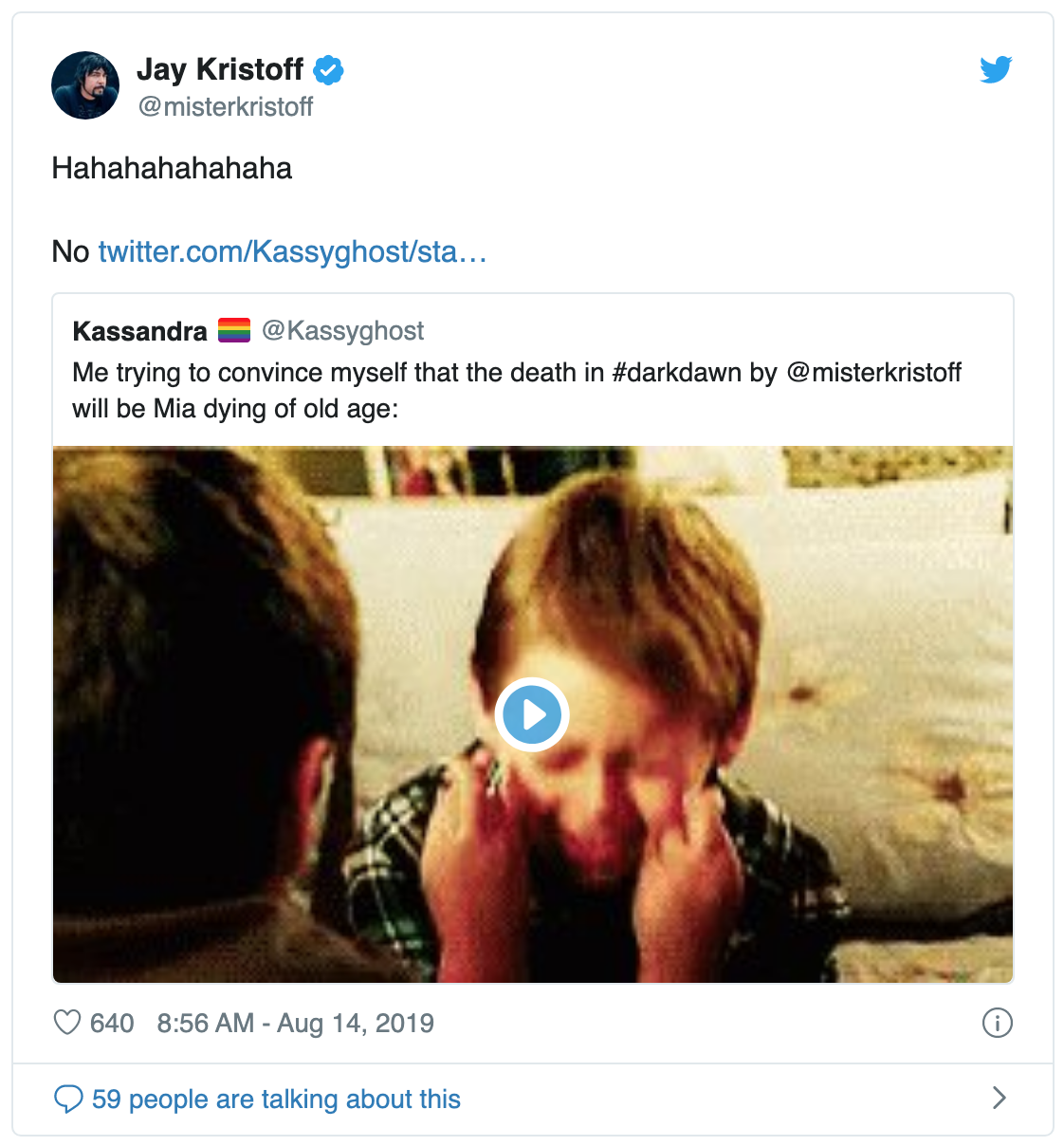Screenshot of Jay Kristoff's tweet prior to the Darkdawn release where someone has tagged him in a tweet saying