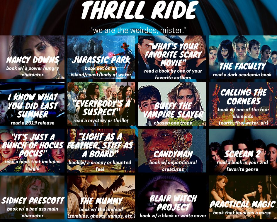 Pop Culture Readathon Thrill Ride prompts board