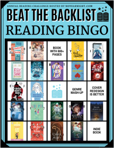 Bingo card for Beat the Backlist. It has 25 squares to complete, and 21 are marked as complete.