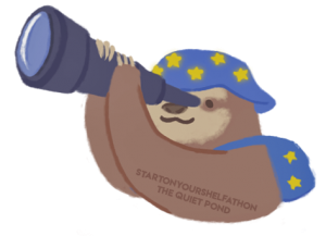 A drawing of a sloth holding a telescope and wearing a blue hat with yellow stars. His name is Castor and he is from The Quiet Pond.