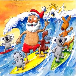 A cartoon of Santa wearing board shorts and a santa hat, while standing on a yellow surfboard, riding a wave. There are lots of Aussie animals around him on other surfboards, including a koala, kangaroo, platypus and echidna. There is a cockatoo flying with them.