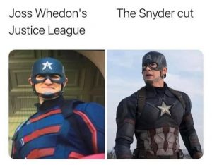A meme to show the difference between the Joss Whedon cut of Justice League vs the Zach Snyder cut of Justice League. The two images are Wyatt Russell dressed as Captain America vs Chris Evans as Captain America.