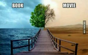 """An image depicting a stormy sky, deep sea and healthy tree on the left, with a dead tree, dusty sky and desert on the right. The image has the words """"book"""" on the left and """"movie"""" on the right, indicating that the book has more depth than the movie."""
